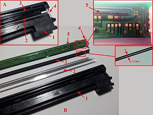 Contact image sensor - Scanner unit with CIS. A: assembled, B: disassembled; 1: housing, 2: light conductor, 3: lenses, 4: chip with two RGB-LEDs, 5: CIS