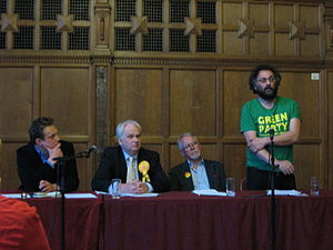 Oxford City Council - Political group leaders and senior politicians for the Oxford City Council (outgoing council at the election in 2010). From left to right: Jonathan Gittos candidate for the Conservatives, Councillor Stephen Brown leader of the political group of Liberal Democrats, Councillor John Tanner senior member of the Labour group, Councillor Craig Simmons leader of the Green group.
