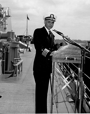 USS Gridley (DLG-21) - Captain P.A. Lilly, Commanding Officer, during Commissioning of USS Gridley (CG 21)