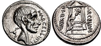 Claudia (gens) - Denarius of Publius Cornelius Lentulus Marcellinus, 50 BC, honouring his ancestor Claudius Marcellus, portrayed on the obverse.  The triskeles behind his head alludes to his capture of Syracuse in 212 BC. The reverse shows him putting his spolia opima into a temple. The legend COS QVINQ refers to his five consulships.