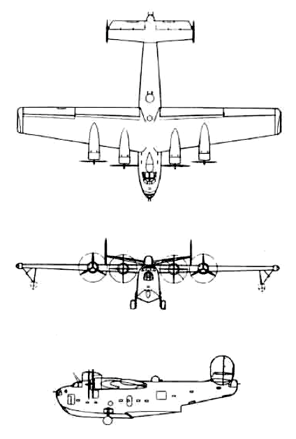 Orthographically projected diagram of the PB2Y-5 Coronado.