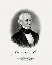 Black and white engraved portrait of Polk