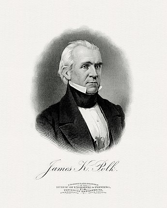 BEP engraved portrait of Polk as President.