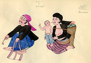 Palaung people - A Burmese depiction of the Palaung in the early 1900s.