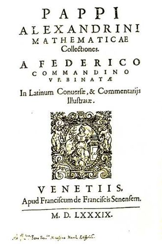 Pappus of Alexandria - Title page of Pappus's Mathematicae Collectiones, translated into Latin by Federico Commandino (1589).