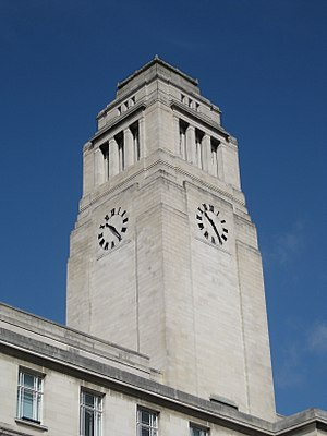 University of Leeds - The Parkinson Building campanile, which features prominently in the university logo and publications after re-branding in 2006.