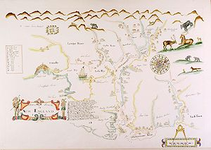 New England - An early English map of New England, c. 1670, depicts the area around modern Portsmouth, New Hampshire.