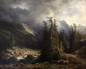 François Diday - Path from Grimsel to Handeck, 1855, now in the Museum of Fine Arts of Sion, Switzerland