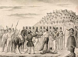 Patuleia - Public flogging of a civilian by Government troops  during the Patuleia.