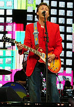 Paul McCartney playing a 1960 left-handed cherryburst Les Paul