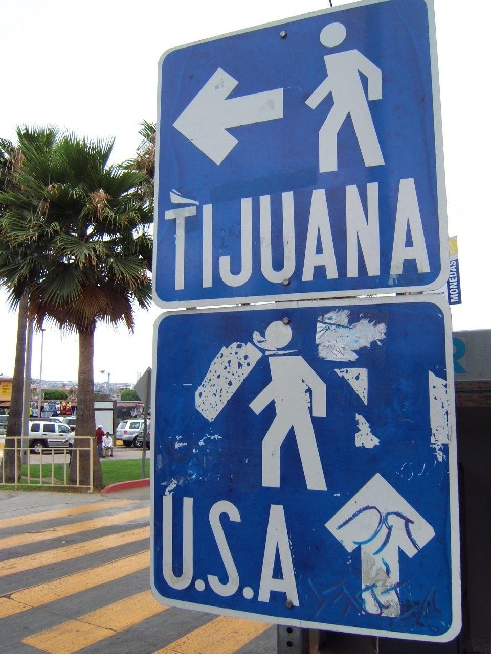 Pedestrian border crossing sign Tijuana Mexico