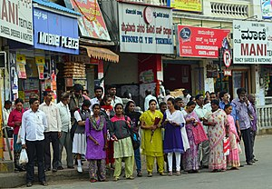 Pedestrian - A pedestrian crossing in Mysore, India
