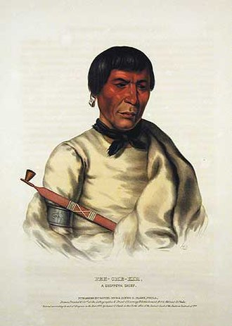 Kechewaishke - Pee-Che-Kir, A Chippewa Chief. An 1843 lithograph by Charles Bird King (1785-1862), reproduction of an oil painting by Henry Inman (1801-1846) depicting either Kechewaishke or Bizhiki, a chief of the St. Croix Band. Published in History of the Indian Tribes of North America.