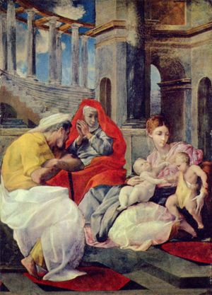 Pellegrino Tibaldi - Holy Family with St. Elizabeth, at the Hermitage Museum, Saint Petersburg.