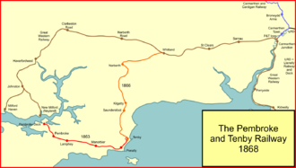 Pembroke and Tenby Railway - System map of the Pembroke and Tenby Railway