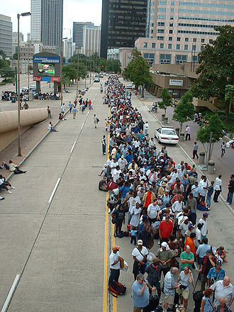 Effect of Hurricane Katrina on the Louisiana Superdome - People seeking shelter in the Superdome before the arrival of Hurricane Katrina.