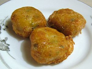 Frikadeller - Perkedel, an Indonesian version of derived from the Dutch Frikandel. This is historically similar to the frikadeller using potato