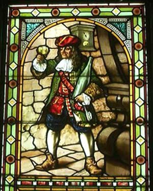 Perkeo of Heidelberg - Glass painting of Perkeo shown with his three symbols: wine goblet, key and clock