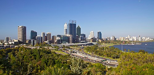 Western Australia's capital and largest city, Perth, from Kings Park. Its metropolitan area is home to 75% of the state's population. Perth Skyline from Kings Park.jpg