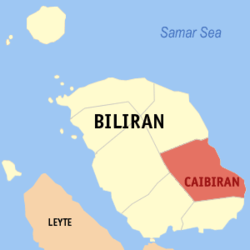 Map of Biliran with Caibiran highlighted