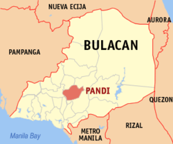 Map of Bulacan showing the location of Pandi
