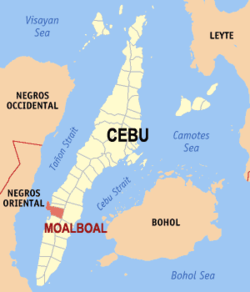 Map of Cebu with Moalboal highlighted