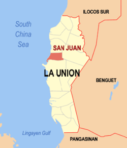 Map of La Union with San Juan highlighted