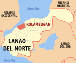 Map of Lanao del Norte with Kolambugan highlighted