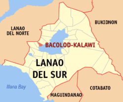 Map of لاناؤ دل سور with Bacolod-Kalawi highlighted