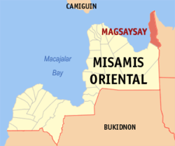 Map of Misamis Oriental with Magsaysay highlighted