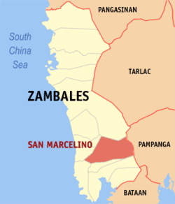 Map of Zambales showing the location of San Marcelino.