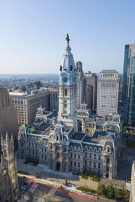 Philadelphia City Hall, Philadelphia, 1877 is a consolidated courthouse and center of the political branches of Philadelphia's city-county government.