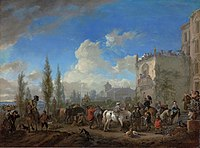 Philips Wouwerman - Elegant hunting company departing from a country estate.jpg