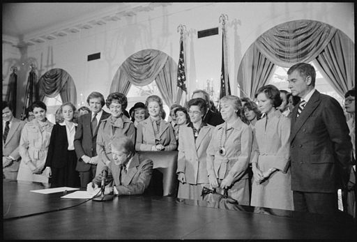 Photograph of Jimmy Carter Signing Extension of Equal Rights Amendment (ERA) Ratification, 10-20-1978