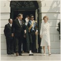 Photograph of The Reagans and Michael Jackson at the White House Ceremony to launch the Campaign against Drunk Driving - NARA - 198548.tif