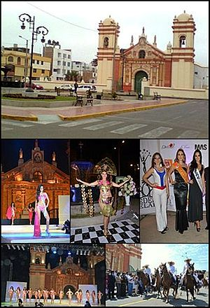 Santiago de Huamán - From top and left to right: Huamán Church, Contest Miss International Peru 2012 in Huaman Square, Chalanes in Paso Horses