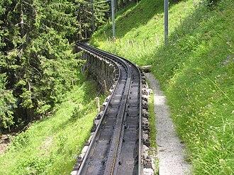 Pilatus Railway - Pilatus Railway track (note the absence of ballast)