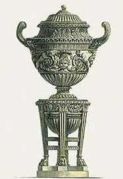 G.B. Piranesi's design for a vase on stand, Rome ca 1780, appealed more to his English and French patrons. Similar gilt-bronze vases were made in London and Paris, from ca. 1768 onwards.