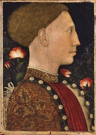 Leonello d'Este, Marquis of Ferrara - Portrait of Leonello d'Este (c. 1444), painted by: Antonio di Puccio Pisanello