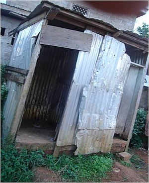 Toilet - A poorly maintained pit latrine in Yaounde, Cameroon