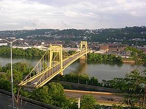 South Tenth Street Bridge - Image: Pittsburgh Tenth Street Bridge from Bluff downsteam