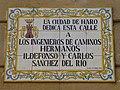 Placa dedicada por el ayuntamiento de Haro a los hermanos Sánchez del Río.JPG