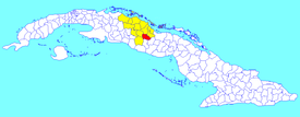 Placetas municipality (red) within  Villa Clara Province (yellow) and Cuba