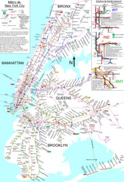 نقشهٔ خطوط متروی شهری نیویورک.