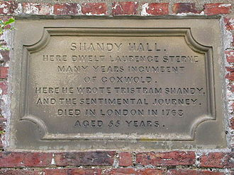 Shandy Hall - Plaque commemorating Laurence Sterne at Shandy Hall