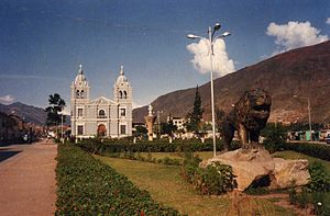 Huánuco - Plaza of Huánuco with San Sebastián church.