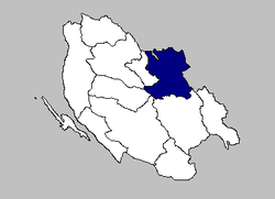 Map of the Plitvička Jezera municipality within its county
