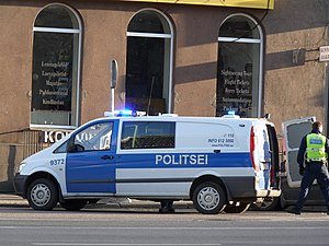 Crime in Estonia - Estonian police in the capital Tallinn.
