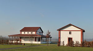 Religion in Germany - Martberg Gallo-Roman temple dedicated to Lenus, rebuilt in Pommern, Rhineland-Palatinate.