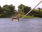 Chiawa Pontoon, crossing the Kafue river, Zambia. Kodak photo CD from slide.